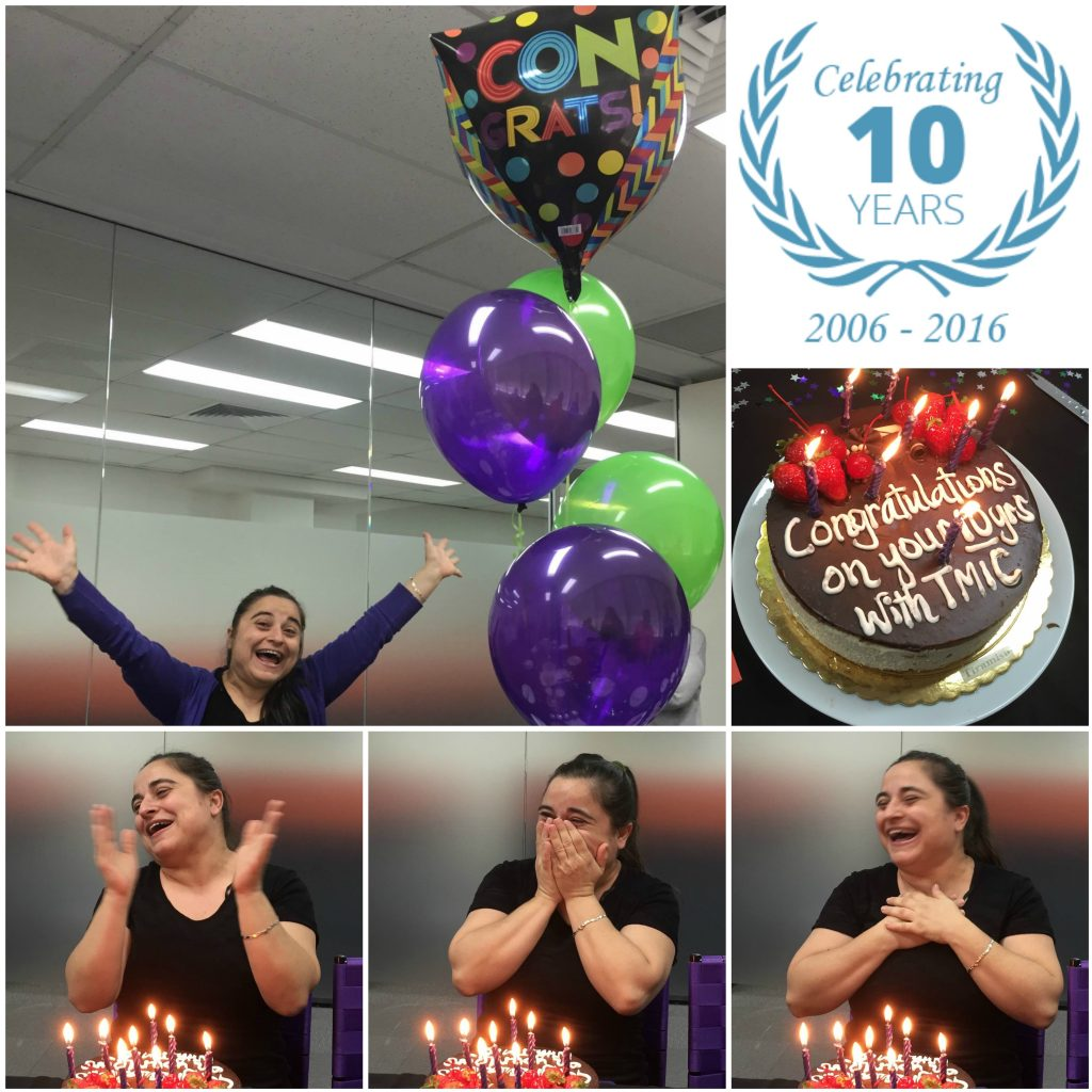 Erika celebrates 10 years with TMIC