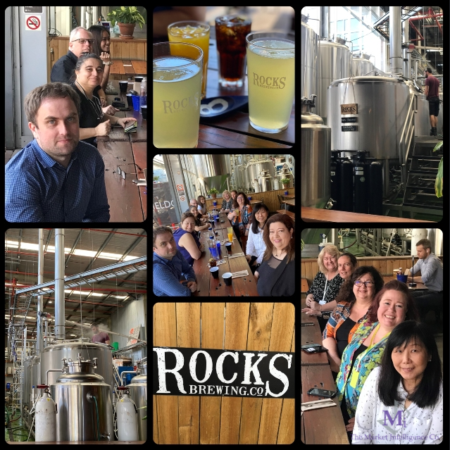 Collage of pictures: the TMIC team at Rocks Brewery for celebration lunch